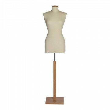 Damesbuste 'Timeless' met houten ronde voet platte houten dop,blanke lak, naturel textiel, 168 cm