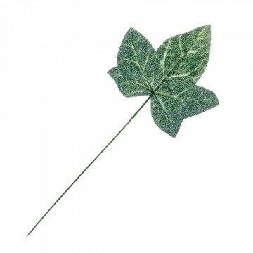 Klimopblad steel 25cm, met ijseffect, groen kunststof, 25 cm