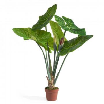 olifantsoorplant in basispot met 6 bladeren, groen zijde, 105 cm