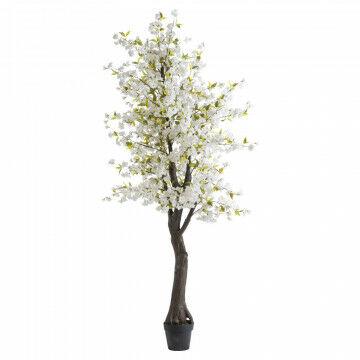 bloesemboom in zwarte basispot, op ware grootte, wit zijde, 240 cm