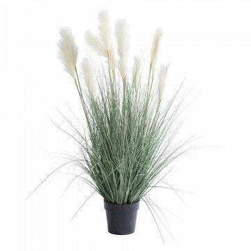 grasplant met witte pluimen in zwarte basispot, groen kunststof, 120 x 55 cm