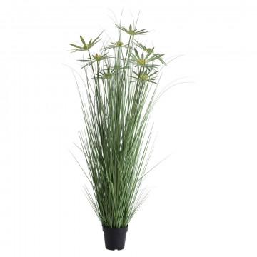 grasplant papyrus met 10 papyrus stengels, in zwarte basispot, groen kunststof, 140 x 35 cm