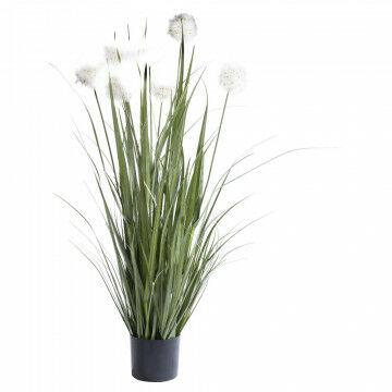 grasplant met 7 pluimen in zwarte basispot, groen kunststof, 120 x 40 cm