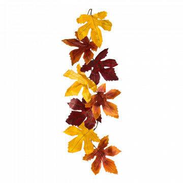 rank met 8 grote esdoorn bladeren gemaakt van 'wax paper', in roest, geel en rood, 220 x 45 cm