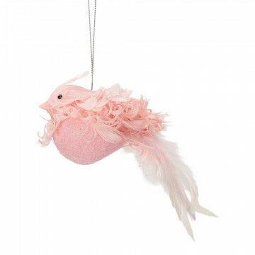 Kardinaalvogel 'Krul' lijfje 7cm, met ophanglus, roze natuur, 15 cm