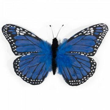 vlinder primavera met ophangoog en gemaakt van echte veren, blauw kunststof, 30 x 53 cm