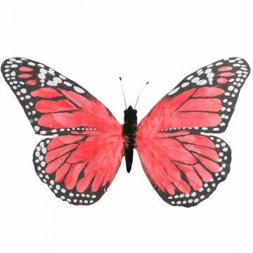 vlinder rood/rose met hanger, veren, 30 x 53 cm