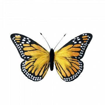 vlinder verano met ophangoog en gemaakt van echte veren, geel kunststof, 30 x 18 cm