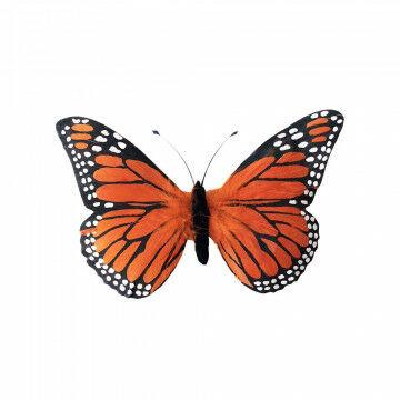 vlinder verano met ophangoog en gemaakt van echte veren, oranje kunststof, 30 x 18 cm