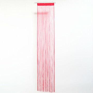 koordgordijn, set van 2, met extra brede tunnel van 7cm (plat gemeten), rood textiel, 50 x 250 cm