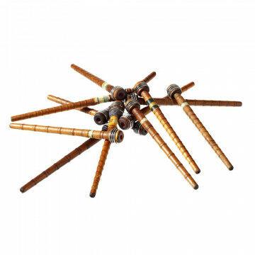 Weefbobines deels met wolgaren, naturel hout, 25 cm