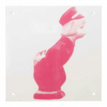 Paneel 'Boer' met 4 gaatjes, roze kunststof, 30 x 30 cm