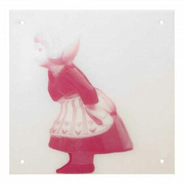 Paneel 'Boerin' met 4 gaatjes, roze kunststof, 30 x 30 cm