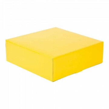 Bloemendoos, geel papier, 30 x 30 x 9.5 cm