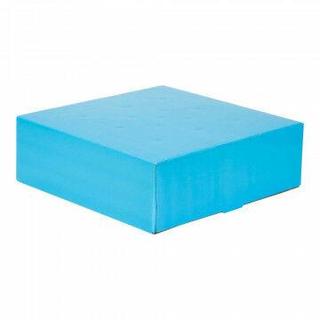 Bloemendoos, blauw papier, 30 x 30 x 9.5 cm