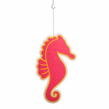 zeepaardje, lichtgewicht, met ophanglint, 2-zijdig, decoreren bij zee thema, pink dacron, 56.5 x 98 cm