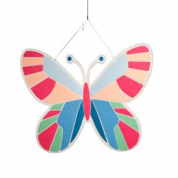vlinder fantasy plano, 2-zijdig incl. ophanghaakje, multicolor dacron, 100 x 79.5 cm