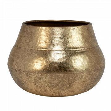 ronde bloempot, handbewerkte finish, opvallende vorm, trendy eye-catcher, goud metaal, 25.4 x 33.6 cm