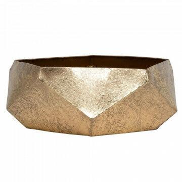 schaal met facetvlakken, tijdloos design handbewerkte finish, goud metaal, 14 x 38 cm