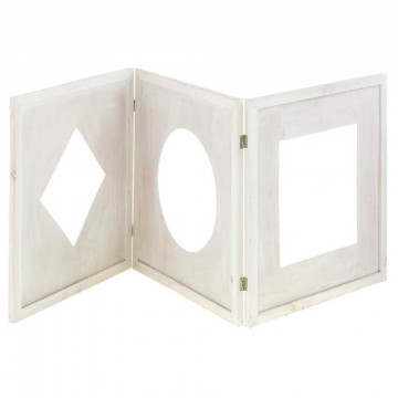 Drieluik 'Geometrie' whitewash finish, scharnierend, ruit/cirkel/vierka, wit hout, 75 x 75 cm