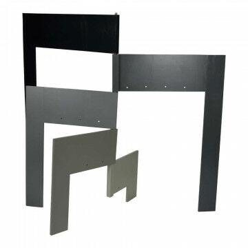 Draaideur Scharnierend knockdown 69cm, uitgedraaid 138cm, 5 tinten grijs, zwart hout, 108 x 138 cm