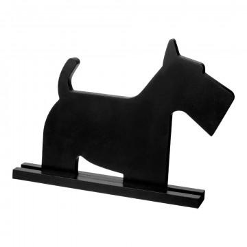 Hondje 'Black Jack' op plateau, zwart hout, 44 x 6 x 33 cm