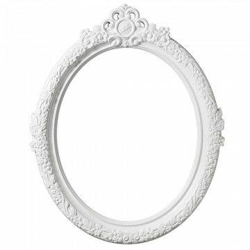 Lijst 'Parijs' ovaal, incl. ophangogen, wit kunststof, 58 x 71 cm