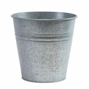 zinken vaas matte look, grijs metaal, 27 x 28 cm