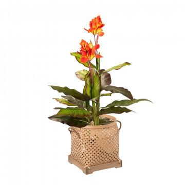 Kunstplant canna lily met mand sumatra
