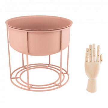 plantenpot blush in houder geschikt voor meerdere seizoenen en toepassingen, roze metaal, 34 x 34 x 32 cm