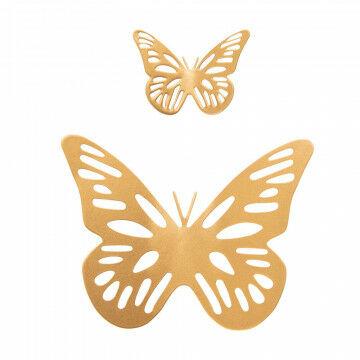 vlinders van metaal met magneet set van 2 stuks, verschillende afmetingen, goud metaal