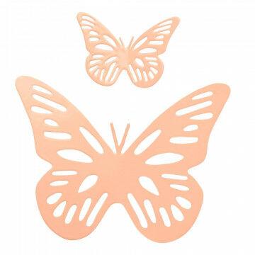 vlinders, set van 2, metaal met magneet op achterkant, roze metaal