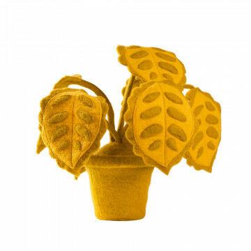 vilten plant pesa, verzwaard 1.100 gram, twee-kleurig, 7 stelen met metaaldraad, geel vilt, 55 x 55 x 60 cm