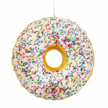 donut met wit glazuur en sprinkels gemaakt van spons, niet van echt te onderscheiden, wit, 4.5 x 12 cm
