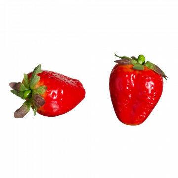aardbeien met een papiermaché finish voor realistische look, rood kunststof, 5 cm