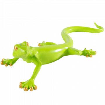 gekko met gouden ogen en tenen, groen kunststof, 60.5 x 21 x 13.5 cm