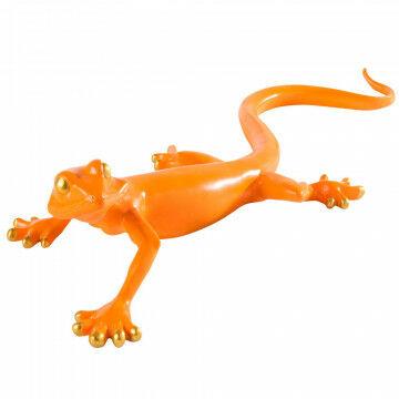 gekko met gouden ogen en tenen, oranje kunststof, 60.5 x 21 x 13.5 cm