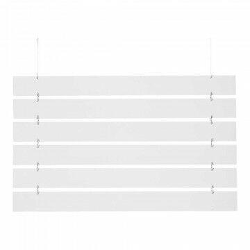 Lamellen met 4 ophangogen, doorkoppelbaar, wit hout, 90 x 8 cm