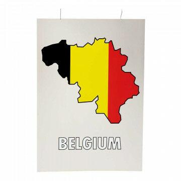 Kaart silhouet België, multi kunststof, 100 x 70 cm