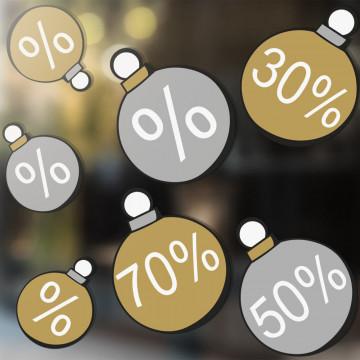 Raamstickers '7 Kerstballen' zonder luchtbellen aan te brengen, herbruikbaar, multi kunststof
