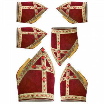 Raamstickers 'Mijters' 6 mijters, 15x21, 19x26.5 en 26x37cm, full colour, rood kunststof