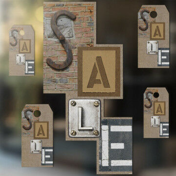 raamstickers sale industrieel 5delige set, 1 grote tekst sale en 4 kleine labels, kunststof