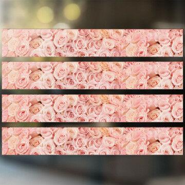 raamstickers rozen 4 identieke stroken, roze kunststof, 98 x 15 cm