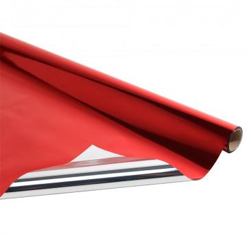 metallic folie rol van 10 meter, rood kunststof, 100 cm