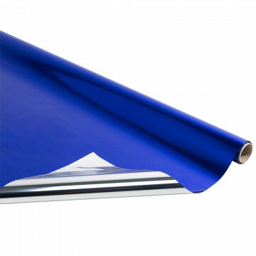 metallic folie rol van 10 meter, blauw kunststof, 100 cm