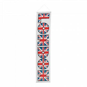 Banier ´London´ smal inclusief stokken en koord, multi textiel, 30 x 150 cm
