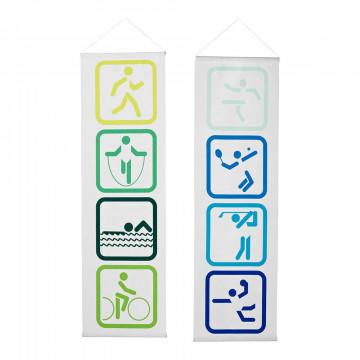 banierenset sport pictogrammen smal inclusief stokken en koord, groen textiel, 30 x 100 cm