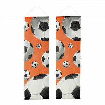 Banierenset 'Voetbal 3D' smal inclusief stokken en koord, oranje textiel, 30 x 100 cm