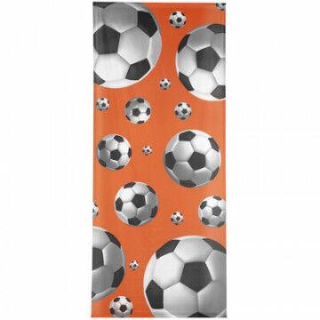 Banier 'Voetbal 3D' inclusief stokken en koord, oranje textiel, 150 x 350 cm