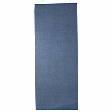 banier linnen-look semi-transparant, met alu. stokken en ophangkoord, blauw textiel, 100 x 250 cm